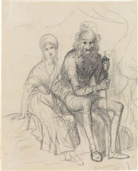 two seated figures (recto), figure study (verso) by george caleb bingham