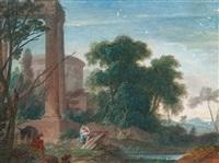la fuite en egypte dans un paysage classique by pierre antoine patel