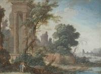 deux promeneurs près des ruines d'un temple au bord d'une rivière se jetant dans la mer by pierre antoine patel