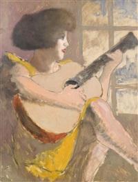 joueuse de guitare (esquisse d'autoportrait au verso) by armand rassenfosse