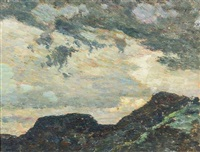landscape with blue mountains by walter griffin