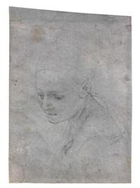etude de tête de femme (study) by agnolo bronzino