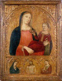 la vierge à l'enfant tenant un oiseau et le christ entre la vierge et saint jean by agnolo di taddeo gaddi