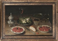 still life with cherries and strawberries on chinese ming plates, artichokes on tin dish and a glass of white wine by osias beert the elder