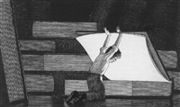 young boy opening enourmous book by chris van allsburg