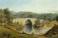 view of the brig o balgownie (bridge of don) over the river don in aberdeenshire by henry c. gritten