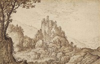a castle on a crag in a mountainous landscape at sunrise by joos de momper the younger