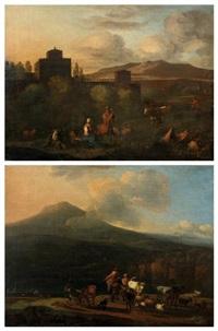 bergers et troupeau près d'une rivière & le repos des bergers près de la citadelle (2 works) by nicolaes berchem