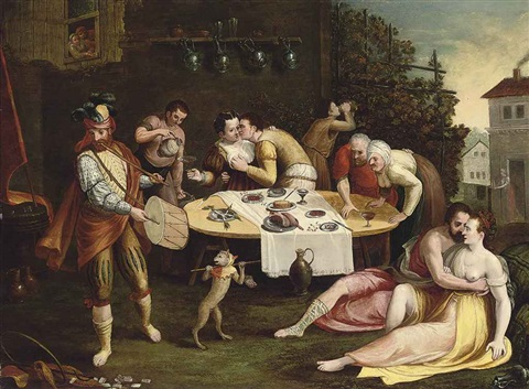 a banquet with elegant company courting by frans floris the elder