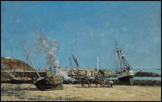 portrieux le port marée basse by eugène boudin