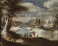 scène d'hiver avec un chasseur by daniel van heil