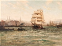 ships in the port by alfred jensen