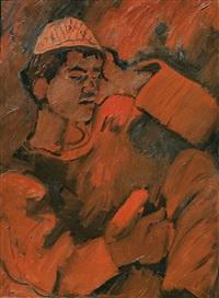 arab boy with cap by pinchas litvinovsky