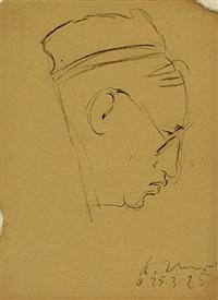 mann mit hund auf dem arm (+ 3 others; 4 works, various sizes) by alfred ahner