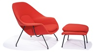womb chair and ottoman (2) model nos. 70 (chair) and 74 (ottoman) by eero saarinen