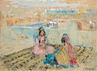 two woman on a terrace by adrien jean le mayeur de merprés