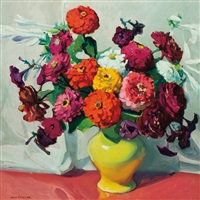 zinnias in a vase by jane peterson