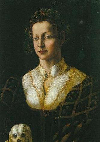 portrait de jeune femme avec son petit chien by romanino girolamo romani