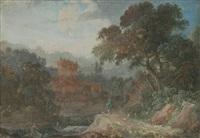 pêcheurs près des ruines d'un château by pierre antoine patel