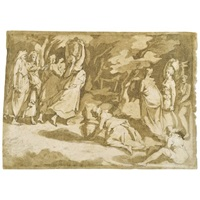 the gathering of the manna (after polidoro) by andrea boscoli