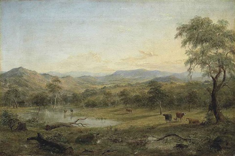 victorian landscape with cattle watering by henry c gritten