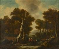 paysage de campagne à la rivière avec des villageois en chemin by jacques d' arthois