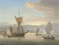 a royal navy frigate firing a salute to announce her arrival at the anchorage by thomas luny