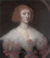portrait of a lady in an embroidered dress with an ornate lace collar by gilbert jackson