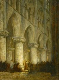 frühgotisches kircheninterieur während einer messe by jacobus cornelis wyand cossaar