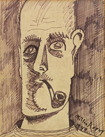 self portrait with pipe by milton avery