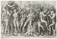 bacchanal with a wine press by andrea mantegna
