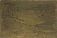 bird standing in the golden stream by morris graves