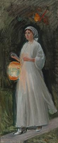 young girl in light summer dress with a colored lamp (study) by michael peter ancher