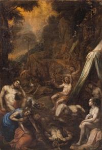 moses errichtet die eherne schlange (+ mose und aaron im lager der israeliten; 2 works) by hans rottenhammer the elder