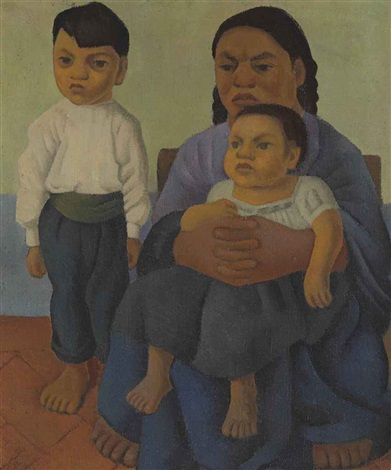 madre con hijos by diego rivera