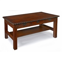 three-drawer library table, #619 by gustav stickley