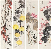 瓜果丰收 (in 4 parts) by qi baishi