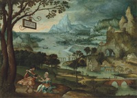 a panoramic river landscape with judah and tamar by lucas gassel