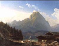 bauernhauser an einem schweizer gebirgssee by hermann kramer