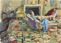 madame elsa schiaparelli dans son salon by etienne drian