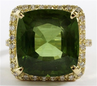 1854ct natural peridot diamond ring size 75 gia