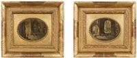 pendants kircheninterieurs - blick in eine gotische kirche mit dame links und blick in eine gotische kirche mit kapelle links (pair) by peeter neeffs the elder