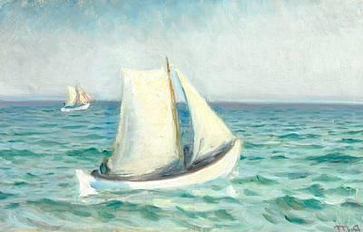hvide baade paa havet i solskin. skagen by michael peter ancher