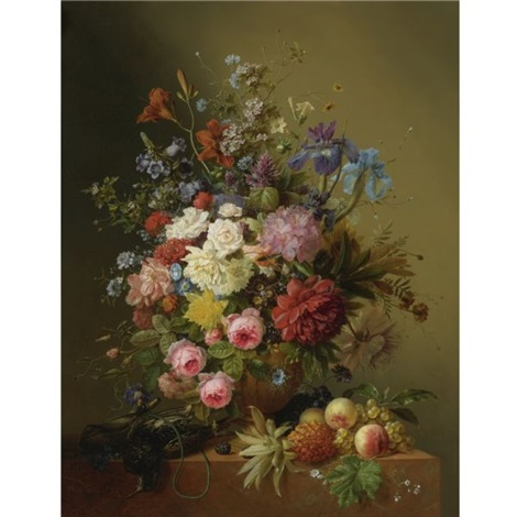 a still life of roses peonies irises and other flowers in a terracotta vase on a ledge with fruit and a bird by arnoldus bloemers
