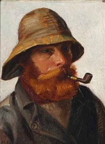 red bearded fisherman with a yellow souwester smoking a pipe by michael peter ancher