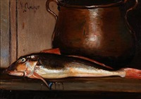 still life with a fish by michael peter ancher