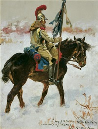 cuirassier on the snow by woiciech (aldabert) ritter von kossak