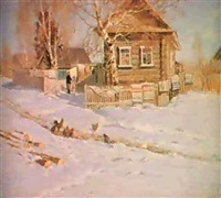 le printemps dans un village by vsievolod bagenov