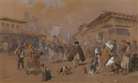 an oriental bazaar by mihály von zichy