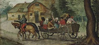 peasants in an open wagon by pieter brueghel the younger